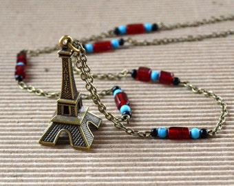 Eiffel Tower FREE SHIPPING Boho Necklace Antique Bronze 3D Pendant Long Beaded Chain Bohemian Turquoise Red Paris France French Jewelry