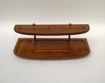 Vintage Mid Century Organizer Wood, Chrome