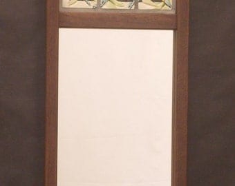 Decorative Mirror, Arts and Crafts, Mission Style Mirror,  Dragonfly tiles, Walnut Frame, Bungalow, Craftsman/ Wedding/Anniversay/Heirloom