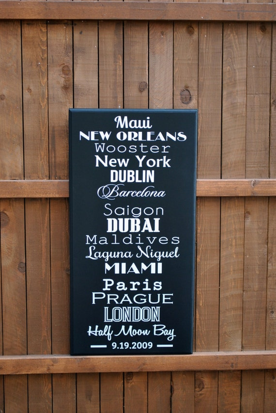 Large HOME DECOR Sign Anniversary Gift Personalized Travel Sign