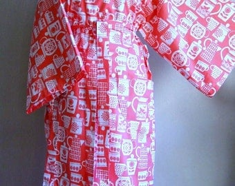 Kimono Style Cotton Robe - put the lid on in coral