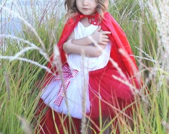 LITTLE RED RIDING Hood Costume Tutu--Custom Made Hand-Tied Ribbon Tutu Skirt, sizes Newborn-5T