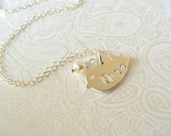 Oma Necklace-Thai Silver Chick Charm Hand Stamped with Oma-Gift for Oma