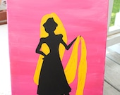 Princess Rapunzel silhouette // Tangled painting // 11x14 inch canvas // READY TO SHIP