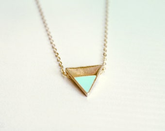 mint green triangle - gold dipped geometric necklace - delicate modern minimalist jewelry / gift for her