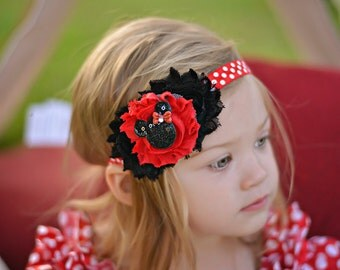 Baby headband, Red Disney Minnie Mouse Headband, Toddler Headband, Newborn headband, First Birthday, baby girl photo prop