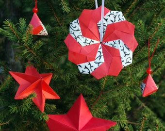 Set of 5 christmas modern decorations in red