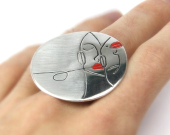Sterling silver Ring, adjustable, lovers ring.Enamel ring. Artistic ring