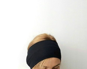 Black extra wide headband  exercise head band workout fitness yoga hair holder headwrap jersey large headband basic solid black casual