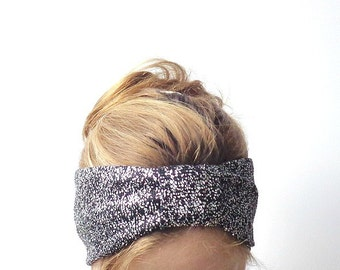 fashion turban head wrap wide headband turband stretch headwrap black sparkle silver glitter disco fashionable techno glam hair accessories