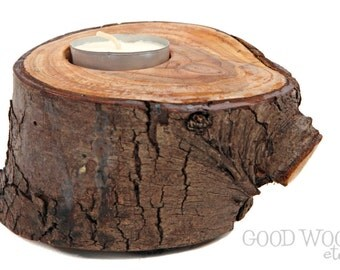 rustic tea light holder - candle holder - log candle holder