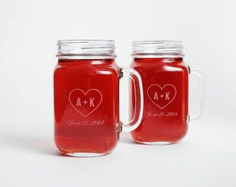 canning jar glasses engraved mason jar mugs engraved mason jars wedding favors - Mason Jar Glasses