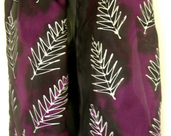 New Zealand Silver Fern, Handpainted SILK SCARF,  Kiwiana, Black and Purple, Silver Outlines. NZ Native Tree Fern. Hand painted luxury Silk