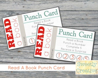 Printable Punch Card Read a Book - INSTANT DOWNLOAD - Printable Digital Files