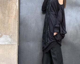 Oversize Black Loose Casual Top / Sexy Shoulder Cut / Asymmetric Raglan Long Sleeveless / Maxi Blouse A02122