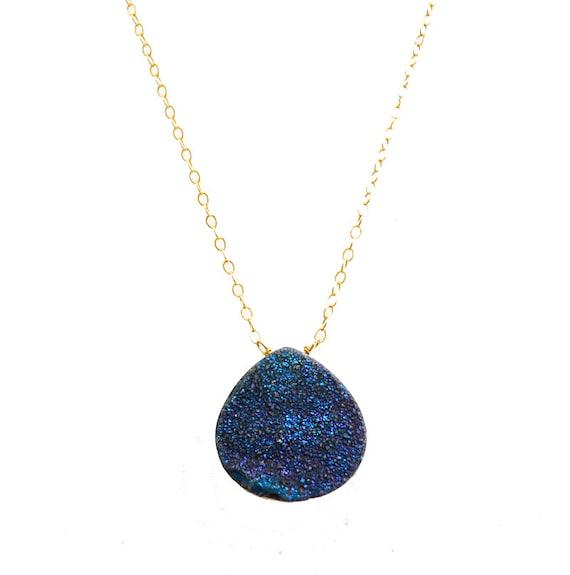 Druzy Necklace, Blue Druzy Necklace, Titanium Druzy Necklace, Druzy Agate, Agate Necklace, Stone Jewelry