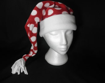 Winter hat .Fleece hat.  Ski hat. Polka dot winter hat. Stocking cap.  Adult winter hat. Child's hat. Red hat.