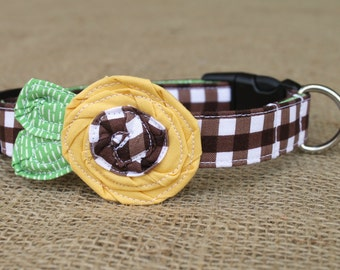 Dog Collar - Fall Sunflower - Brown Gingham with Golden Yellow Sunflower and Green Leaves