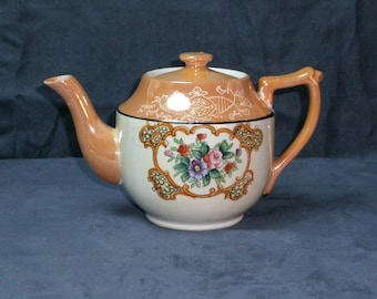 1940s Gorgeous Peach Luster Teapot w/ Gold Accents, Hand Painted, Framed Floral & Scroll Design; Beautiful Condition