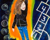Young girl with the power for positive change Original Painting, Girl Power, by Gator Girl