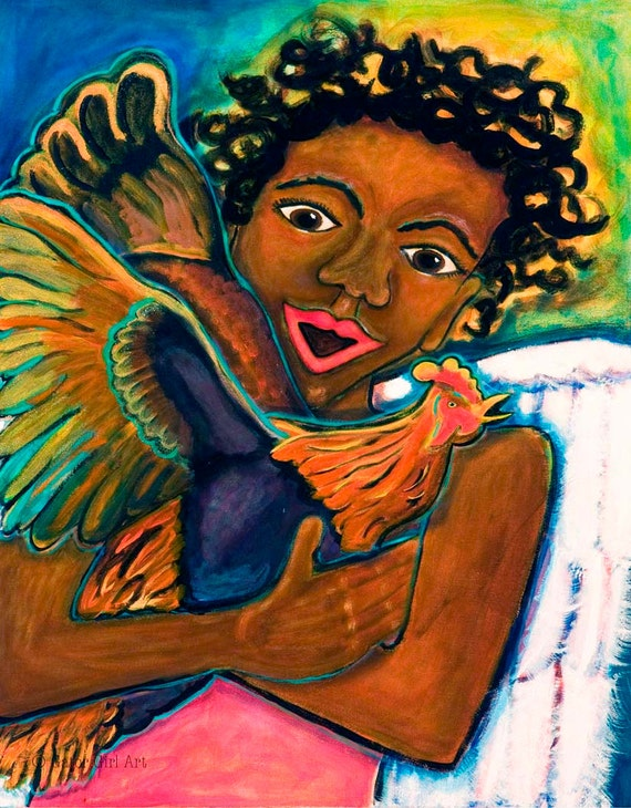 African American Angel with Chicken Giclee 16x24-- Feathered Friends