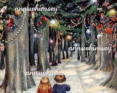 Magical Christmas Lane  - Antique Art Print Restored - Christmas to a Child from 1917 - Restored Art Print