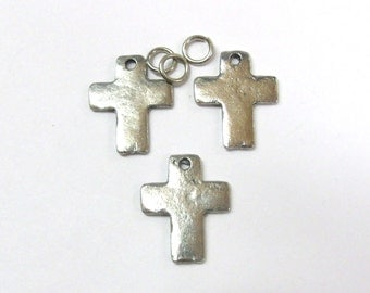 3 Pewter Hammered Cross Charms - 3371