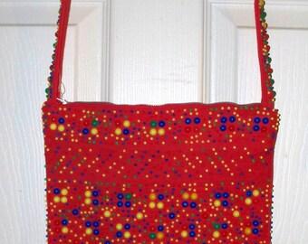 Indoos & Daves Handbag - Messengers Bag - Purse  - Red Fabric with Plastic  Beads  - Vintage