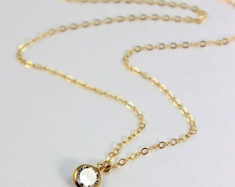 Delicate Gold Filled Necklace with Swarovski Crystal Pendant Minimalist Jewelry Womesn Girls Simple Necklaces