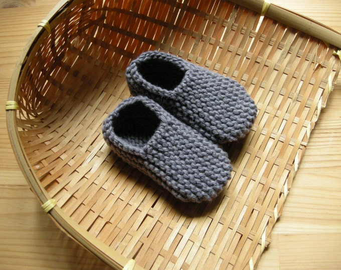 MANI - Baby slippers in pure cotton - dark grey - 0/3 months - other colors made to order