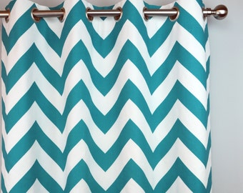 True Turquoise Teal White Zippy Chevron Zig Zag Curtains - Grommet - 84 96 108 or 120 Long by 25 or 50 Wide - Optional Blackout Lining