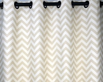 Khaki Beige Natural Zig Zag Chevron Curtains - Grommet - 84 96 108 or 120 Long by 25 or 50 Wide - Optional Blackout or Cotton Lining