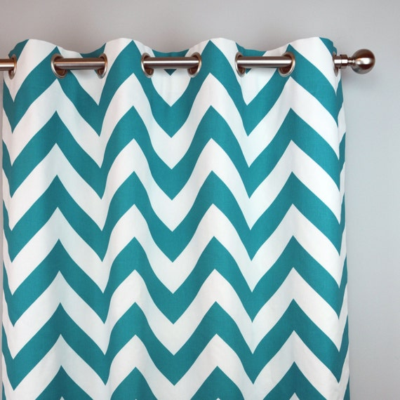 Items Similar To True Turquoise Teal White Zippy Chevron Zig Zag Curtains    Grommet   84 96 108 Or 120 Long By 25 Or 50 Wide   Optional Blackout Lining  On ...