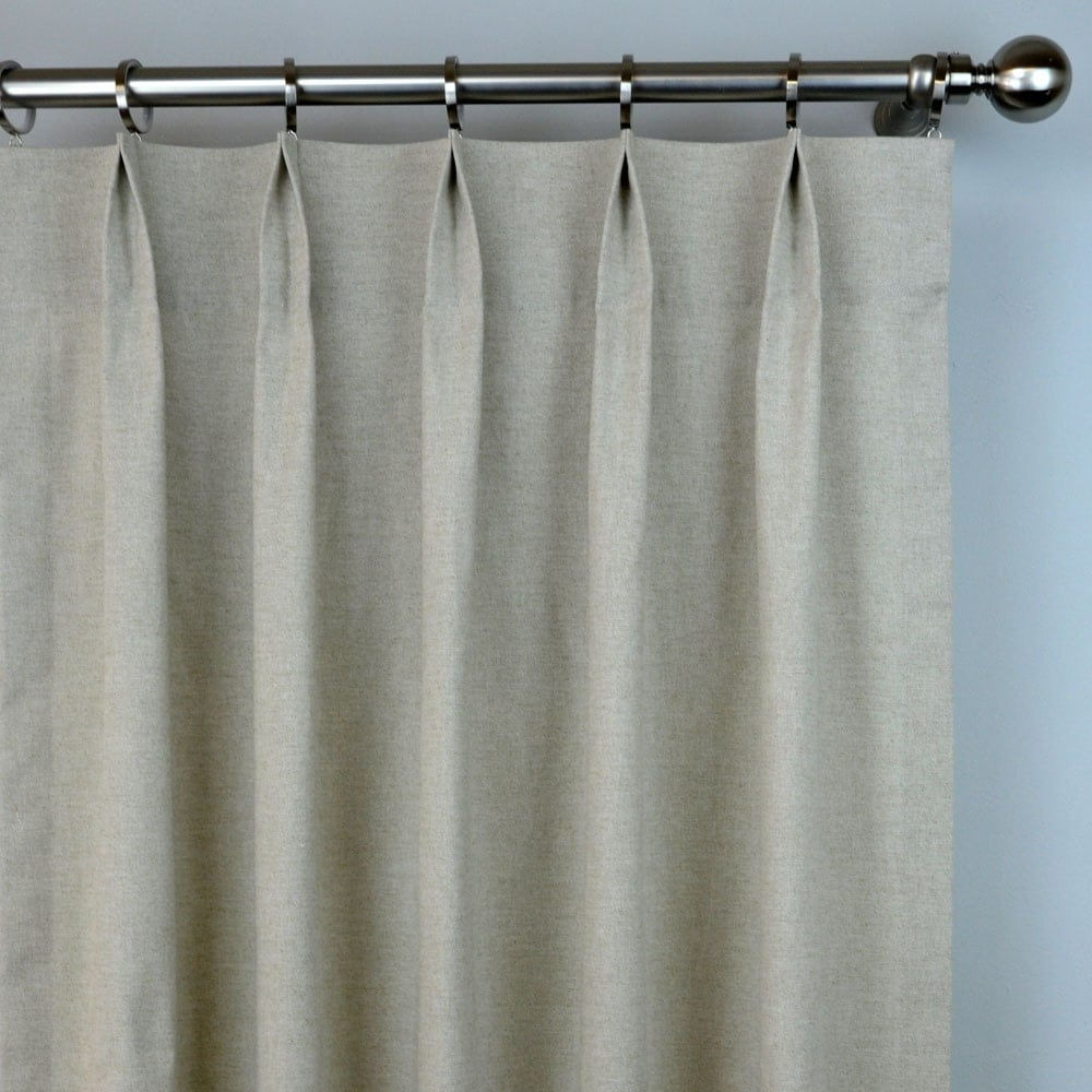 Curtains 120 Length Traditional Damask Lace Pole Top Curtain Panel Plain Natural Oatmeal Linen