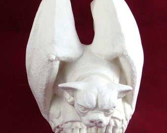 Ceramic ready to Paint Dog Gargoyle - Medium Size,8 inches - hand made, indoor or outdoor, lawn or garden