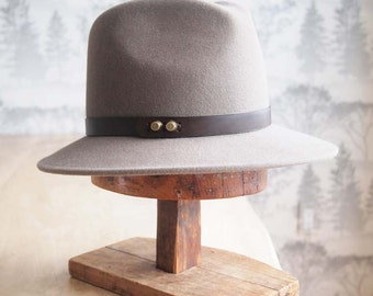 """Claude I:   Men's weight Felt Fedora with matching 3/4"""" leather trim with antique brass studs"""
