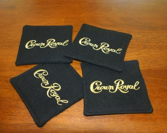 Crown Royal Black Fabric Coasters - Set of 4, Stocking Stuffers, Gifts for Men, Etsy Dudes, Barware, Gifts under 20