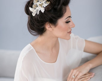 Bridal Hairpiece with French Lace and Vintage Gold Beading