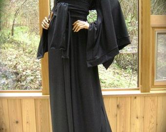 Black Kimono Robe in Stretch Cotton Lycra Knit with Sash