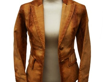 Vintage 60s Leather Jacket Womens LEATHER RANCH Butter Soft Carmel Brown Ombre Fade Made in Canada Wide Lapels Fitted XS Extra Small