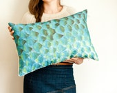 Scallop pillow, nautical fish scale cushion in green, turquoise and yellow, Nursery decor