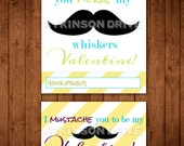 Printable Mustache Valentine Tags & Cards