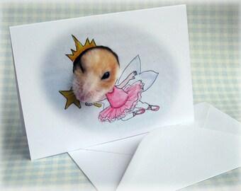 Fairy Hamster Card Girls Birthday Greeting Card Cute Fun Funny Stationery Blank Inside