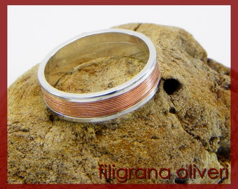 Ring in sterling silver & copper , wedding