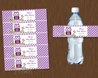 Purple Owl Water Bottle Labels Printable Baby Shower Birthday Party Favor Personalized