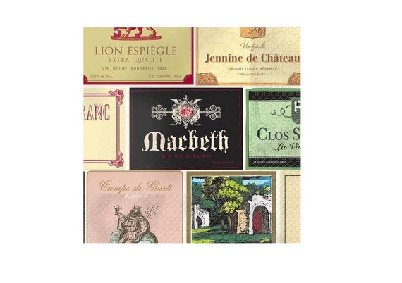 French WINE LABELS Collage Paper Napkins for decoupage or crafts 2 (two) Beverage size Multi Colored Wine Label Paper Napkins