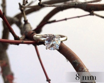 White Topaz Diamond Ring, Diamond Alternative, Topaz Ring in Sterling Silver, April Birthstone, Bridesmaids Gifts