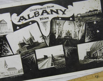 Albany, Minnesota Vintage Postcard with Various Scenes of Main Street, Churches, School, Railroad Bridge and Train Inset Photographs