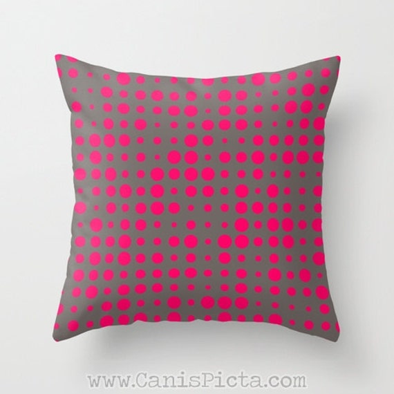 Modern Dots Throw Pillow 16x16 Decorative Cover Bright Pink