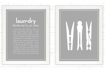 SET: Definition of Laundry and Clothespins - 8x10 prints  - Define, Meaning, Clothes pin, clothes-peg, peg, Room, Mid Century, Modern